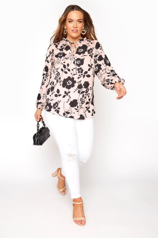 Pink Floral Tie Frill Neck Blouse