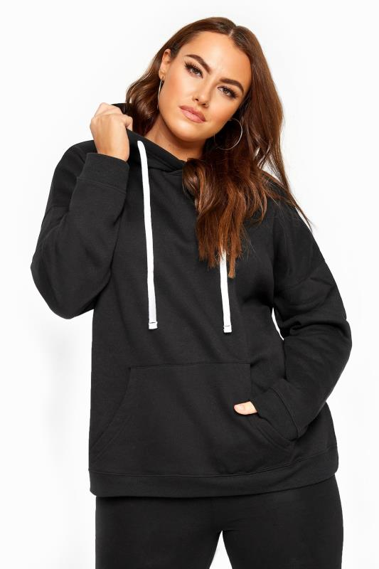 Plus-Größen Hoodies & Jackets Black Drawstring Tie Hoodie