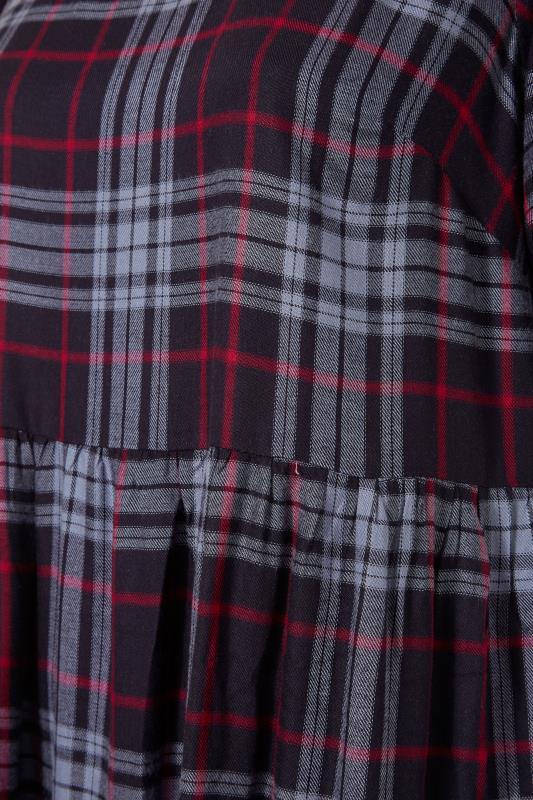 Navy Plaid Puff Sleeve Smock Midaxi dress_S.jpg