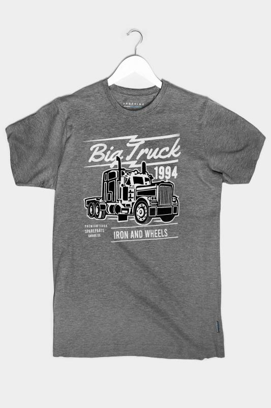 T-Shirts Tallas Grandes BadRhino Charcoal Grey Truck Graphic Print T-Shirt