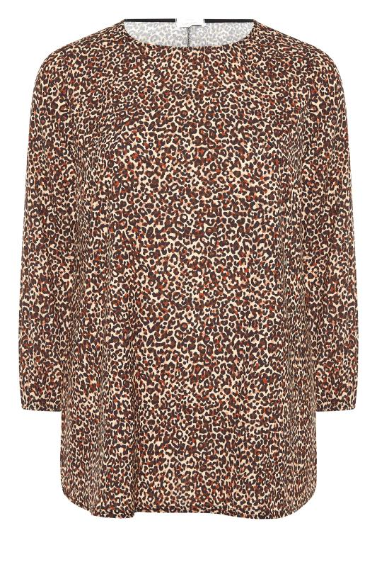 YOURS LONDON Brown Leopard Print Blouse_F.jpg