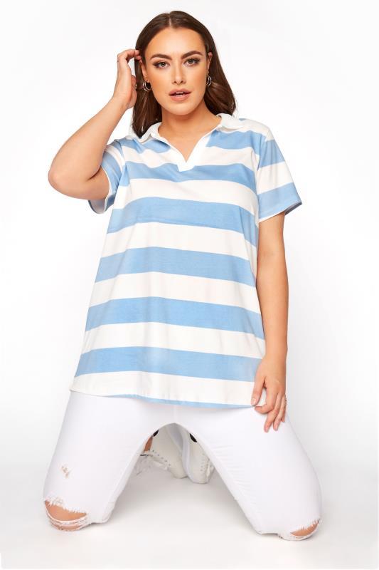 Light Blue Striped Polo T-Shirt