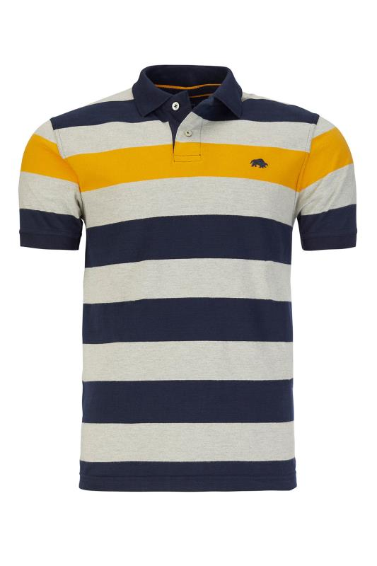 Plus Size  RAGING BULL Navy Stripe Polo Shirt