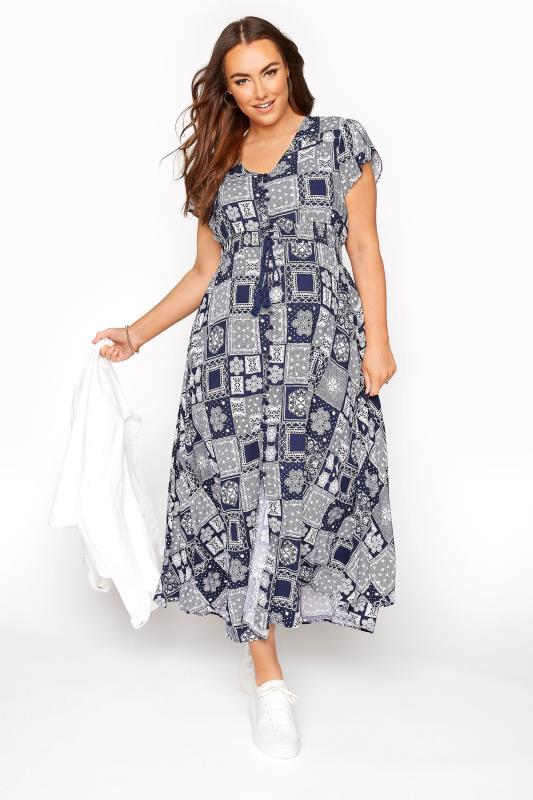 BUMP IT UP MATERNITY Dark Blue Tile Print Maxi Dress