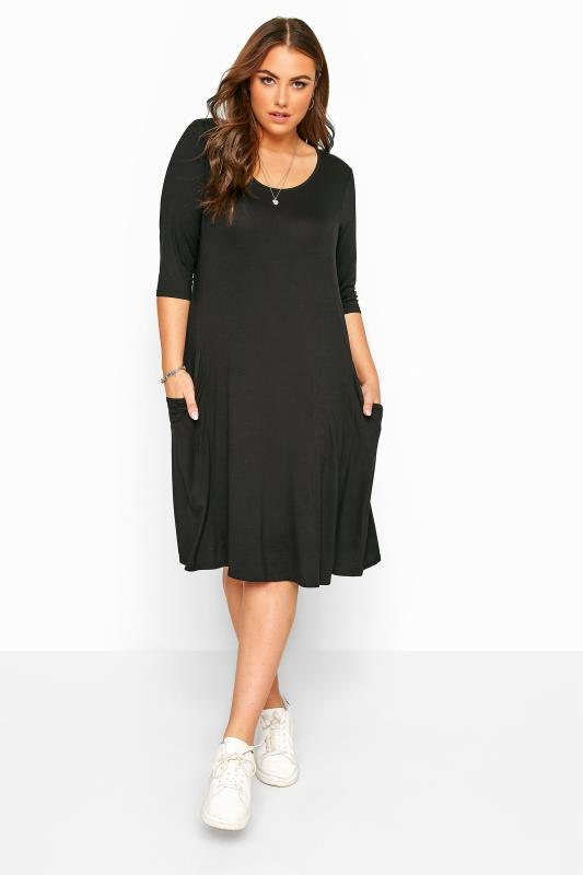 Swing Dresses  Tallas Grandes Black Drape Pocket Dress