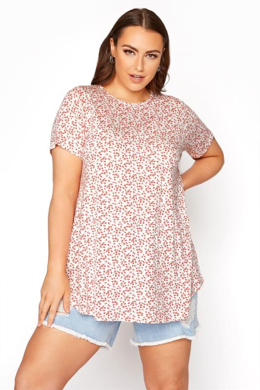 Plus Size  LIMITED COLLECTION White and Red Floral Swing Top