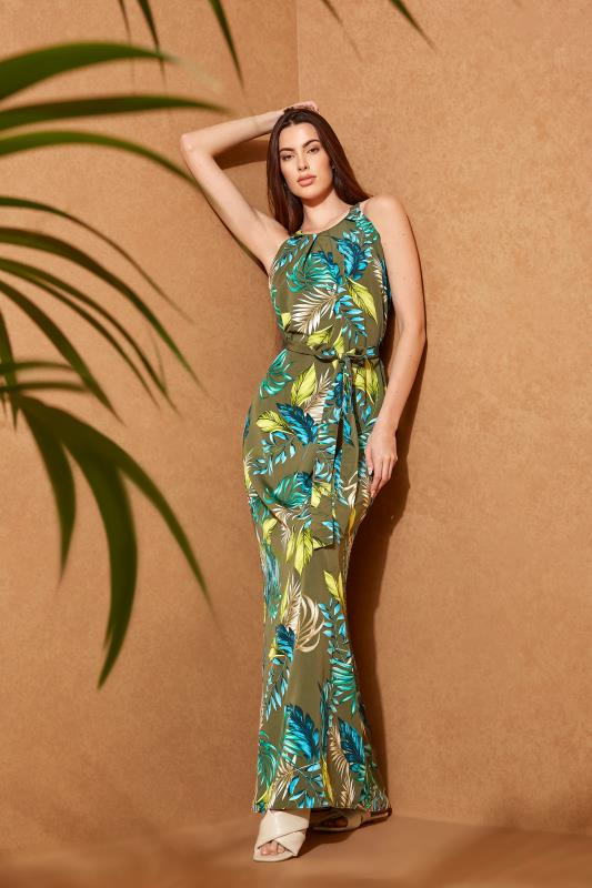 Khaki Leaf Print Halterneck Maxi Dress_L.jpg