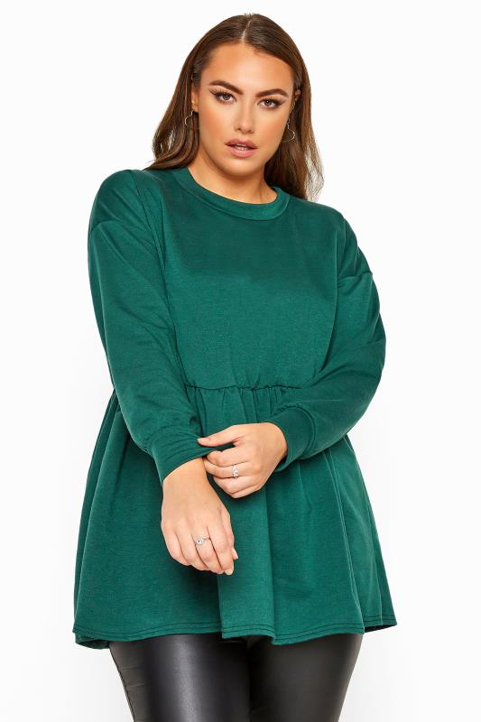 Plus Size Sweatshirts & Hoodies LIMITED COLLECTION Forest Green Peplum Sweatshirt