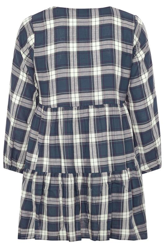 LIMITED COLLECTION Blue Check Tiered Smock Dress