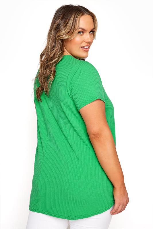 LIMITED COLLECTION Emerald Green Ribbed Short Sleeve T-Shirt_C.jpg