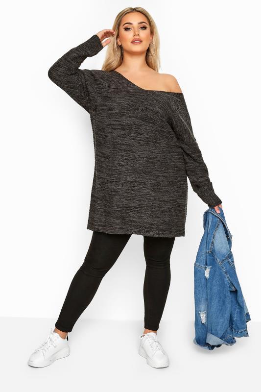 Charcoal Grey Marl Deep V-Neck Knitted Jumper