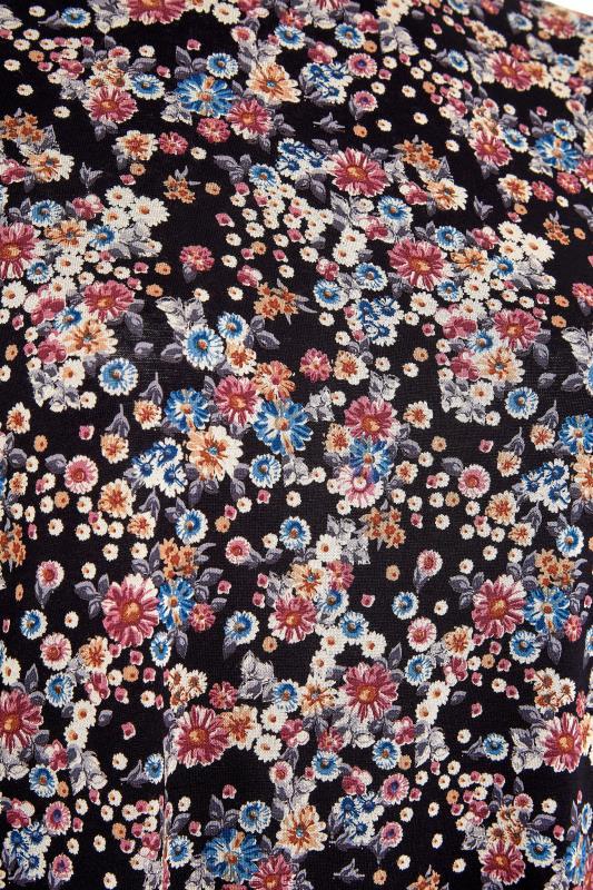 Black Floral Printed Split Hem Top_S.jpg