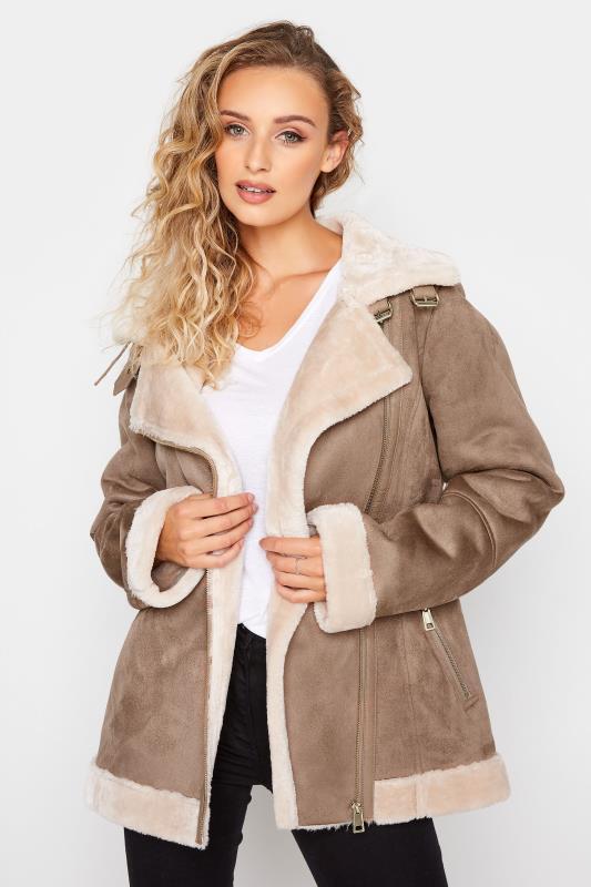 Tall  LTS Natural Faux Fur Trim Aviator Jacket