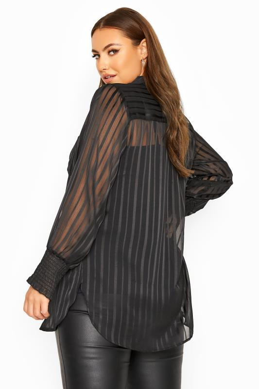 YOURS LONDON Black Crinkle Chiffon Stripe Shirt