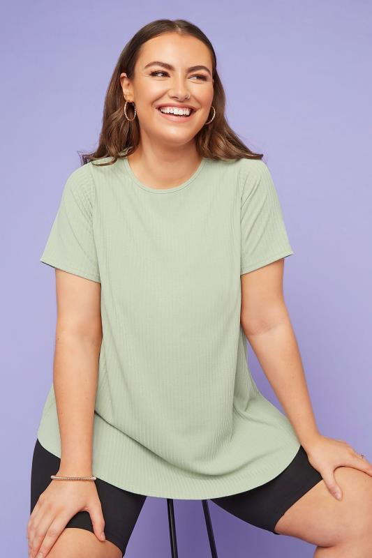 Plus Size Jersey Tops LIMITED COLLECTION Sage Green Ribbed Swing T-Shirt