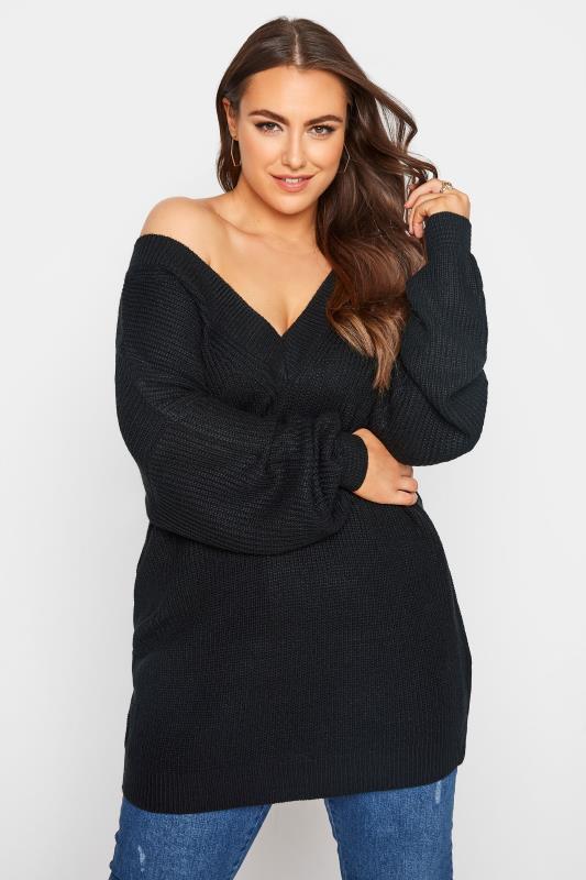 Plus Size  Black V-Neck Knitted Jumper