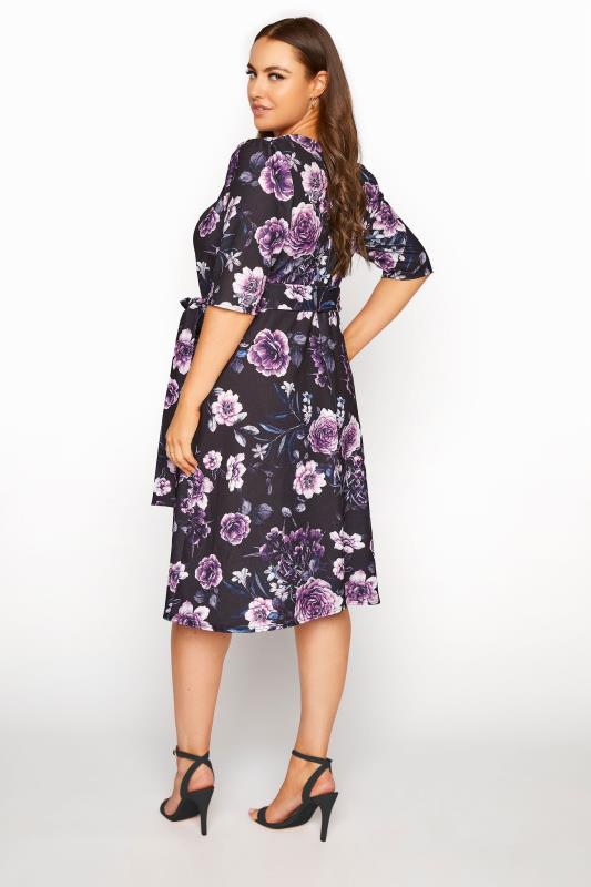 YOURS LONDON Black Floral Milkmaid Skater Dress_C.jpg