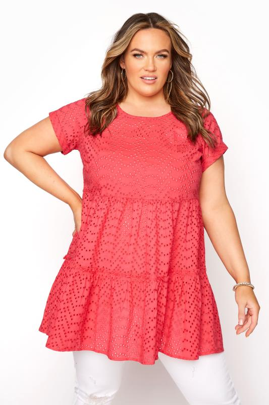 Coral Smock Tiered Tunic