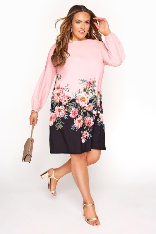 Grande Taille YOURS LONDON Pink Floral Border Shift Dress