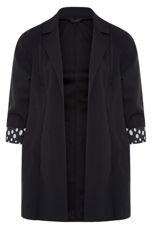 Black Polka Dot Roll Back Sleeve Blazer_F.jpg