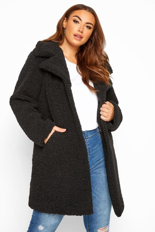 Coats Grande Taille Black Teddy Coat