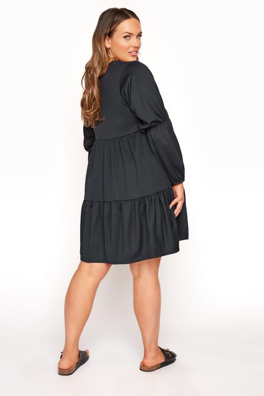 LIMITED COLLECTION Black Tiered Smock Long Sleeve Dress_C.jpg