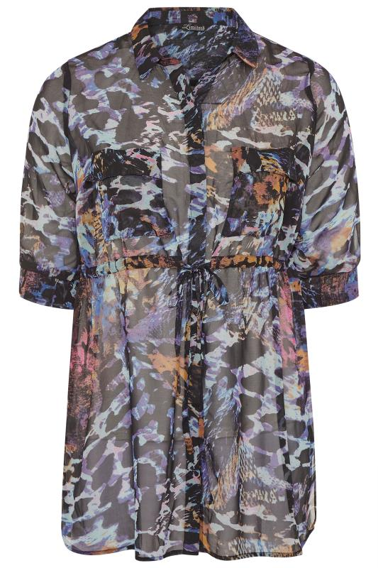 LIMITED COLLECTION Blue and Black Snake Print Tie Waist Longline Chiffon Shirt