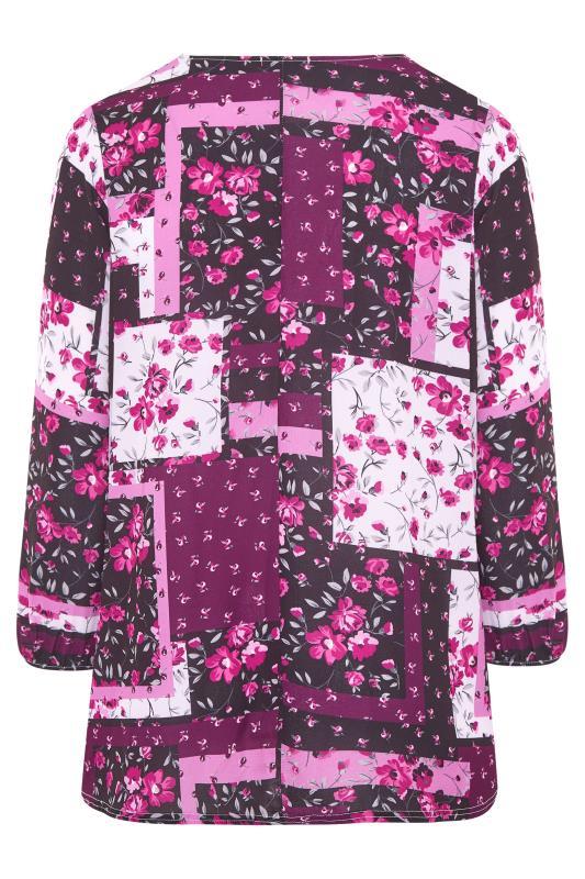 YOURS LONDON Pink Floral Patchwork Blouse_BK.jpg