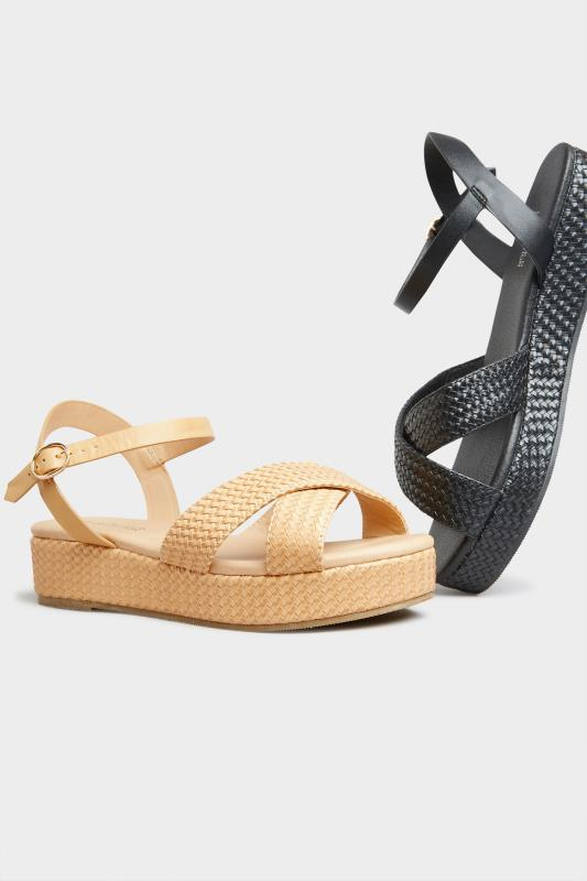 LIMITED COLLECTION Tan Weave Platform Sandal In Extra Wide Fit_E.jpg
