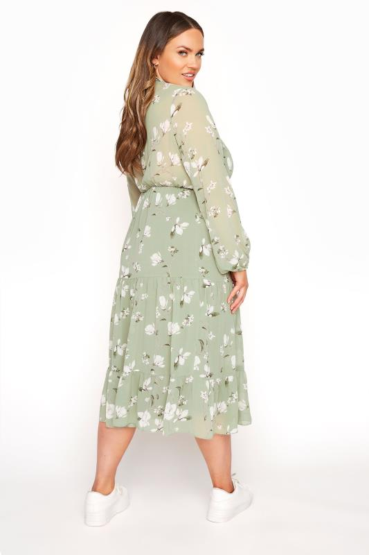 YOURS LONDON Sage Green Floral Bow Smock Dress_C.jpg