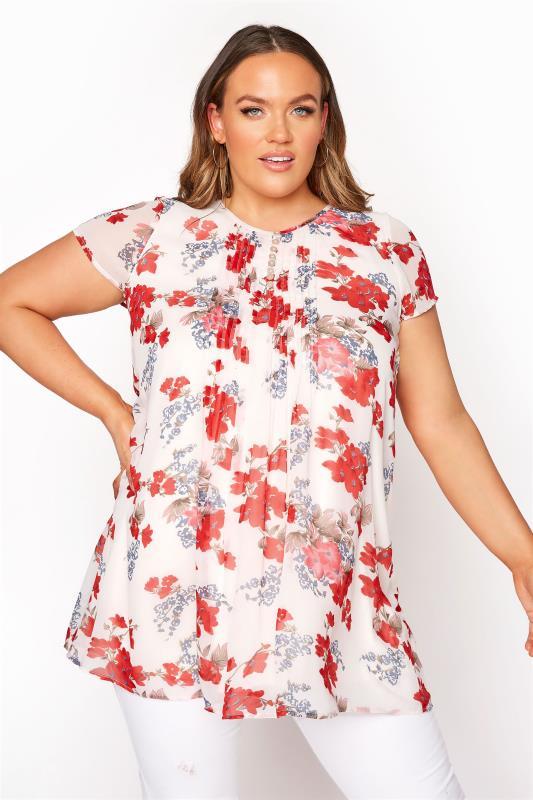 Plus Size  White Floral Pleat Front Short Sleeve Blouse