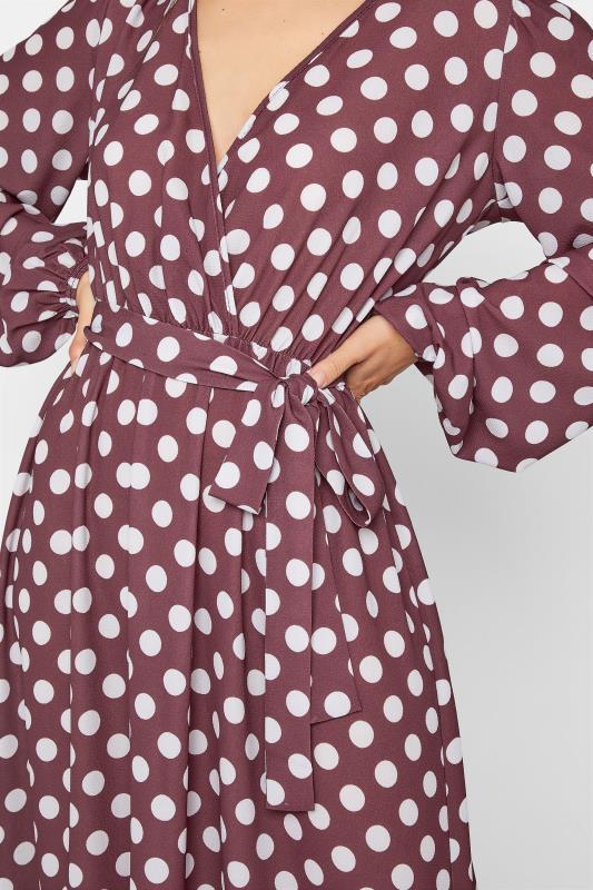 LTS Brown Polka Dot Wrap Midi Dress_D.jpg