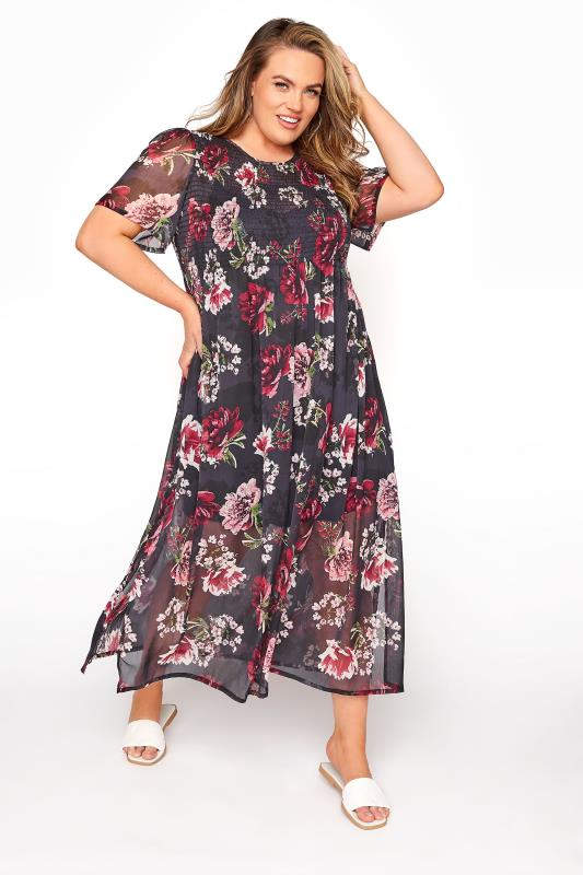dla puszystych LIMITED COLLECTION Black Floral Shirred Maxi Dress