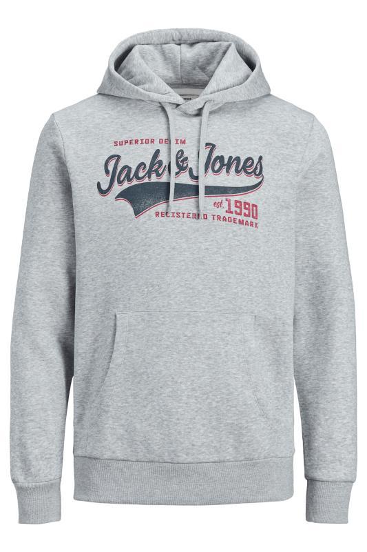 JACK & JONES Grey Logo Printed Hoodie_F.jpg