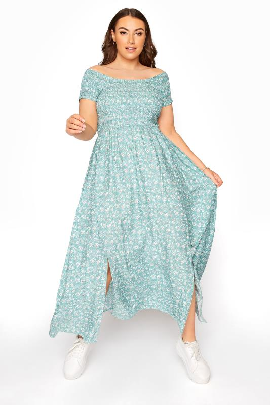 Plus Size  Sage Green Ditsy Floral Shirred Bardot Maxi Dress