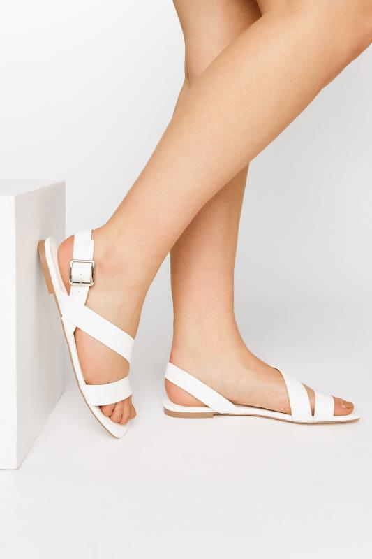 LTS White Crossover Strap Sandals
