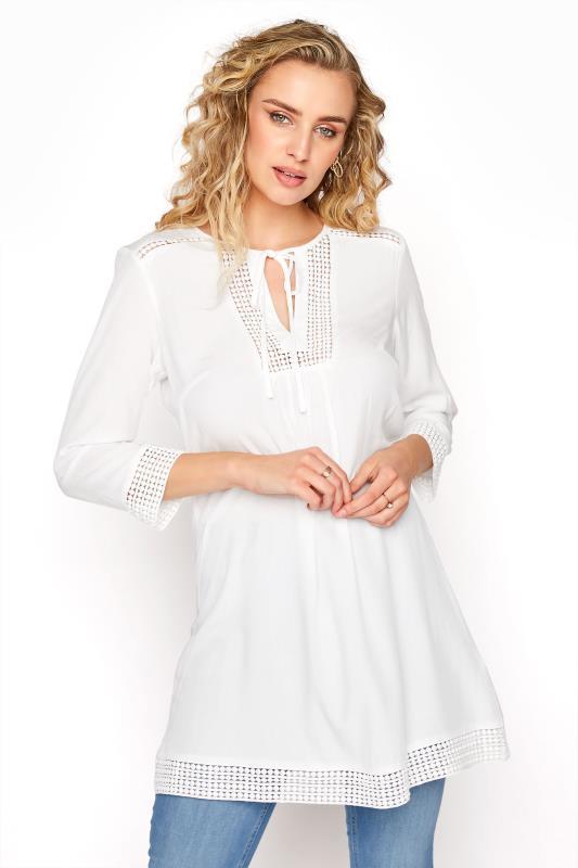 Tall  LTS White Lace Up Tunic