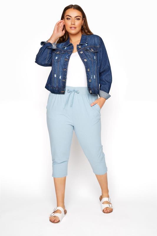 Plus Size  Light Blue Cool Cotton Cropped Joggers