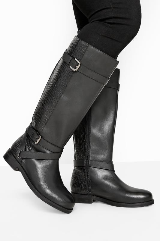 Plus Size  Black Leather Buckle Calf Knee High Riding Boots In Extra Wide Fit