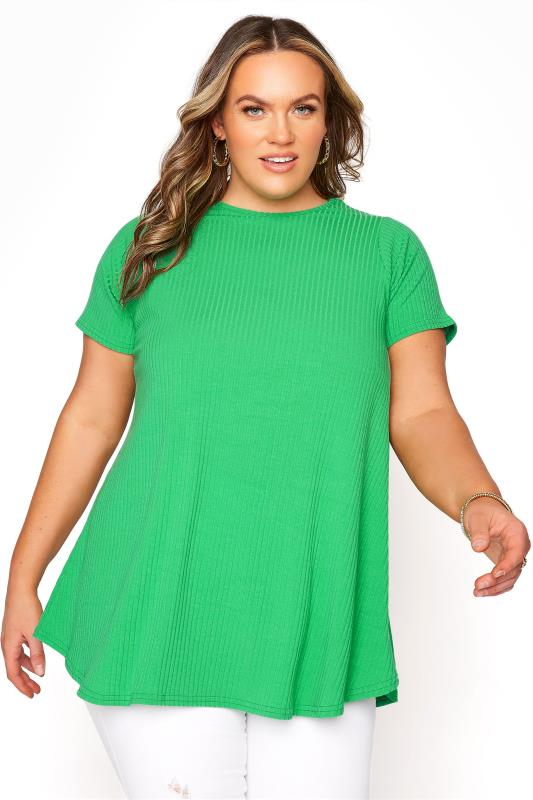 Grande Taille LIMITED COLLECTION Emerald Green Ribbed Short Sleeve T-shirt