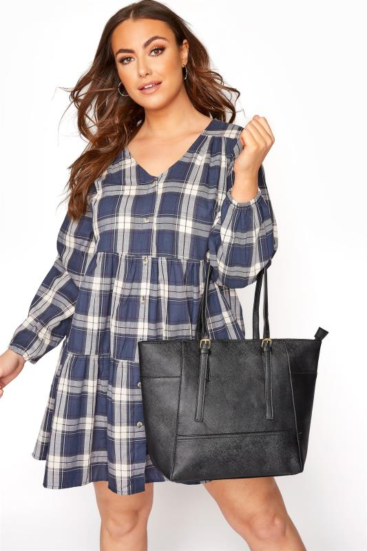 Black Buckle Detail Tote Bag