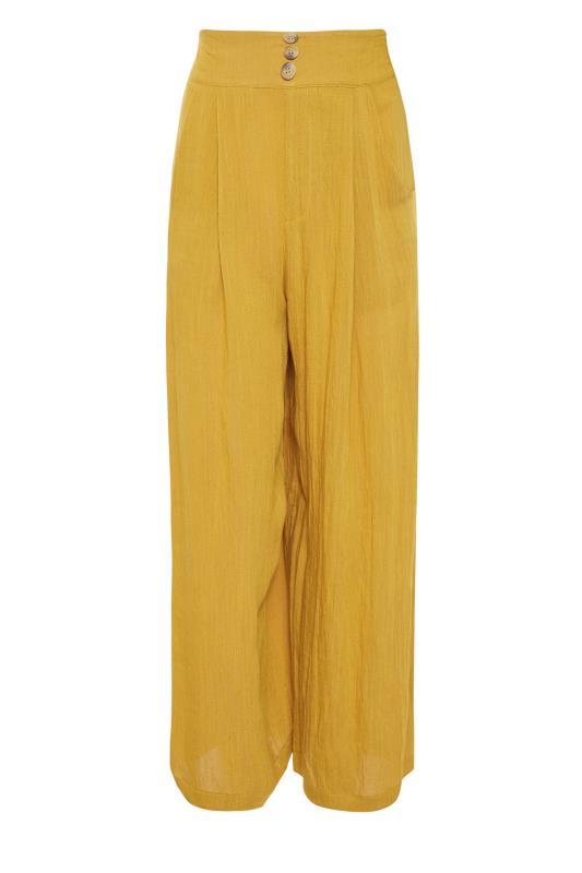 LTS Ochre Yellow Linen Blend Button Pleat Front Culottes_f.jpg