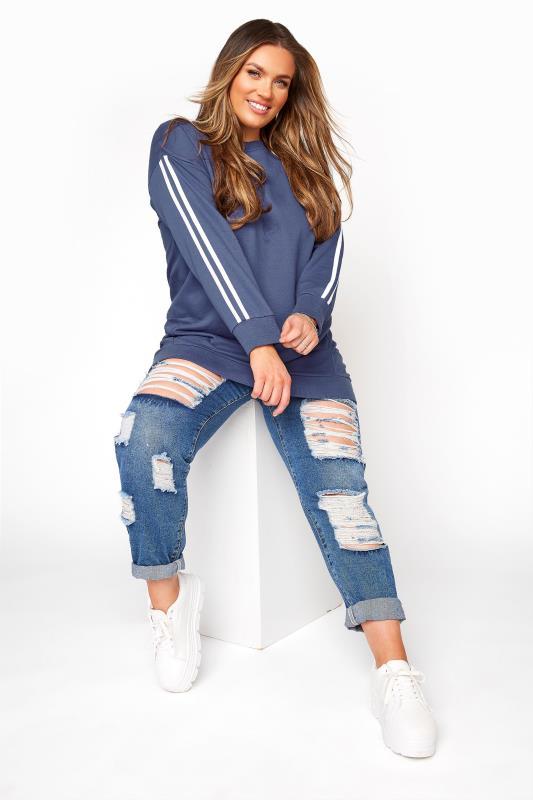 Plus Size  Steel Blue Varsity Longline Sweatshirt
