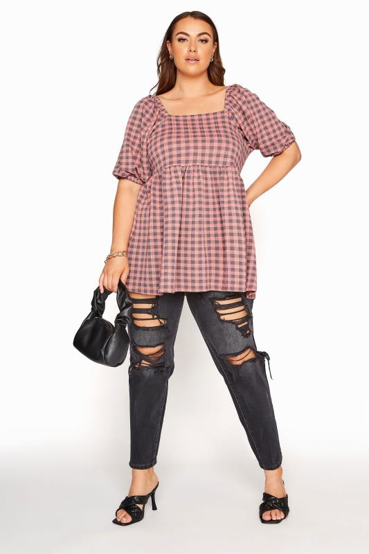 LIMITED COLLECTION Pink Gingham Square Neck Smock Top_B.jpg