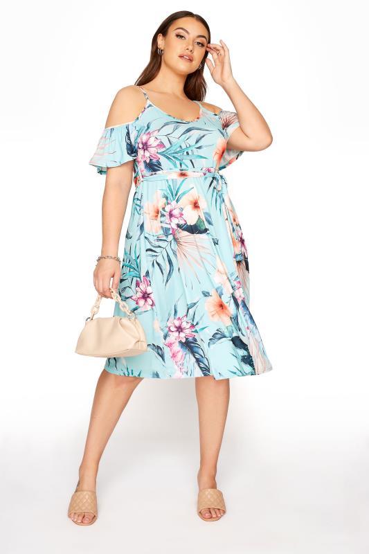 Plus Size  YOURS LONDON Blue Tropical Cold Shoulder Midi Dress