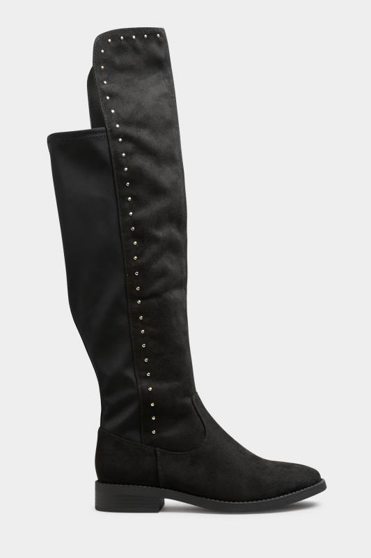 LIMITED COLLECTION Black Stud Over The Knee Boots In Extra Wide Fit_A.jpg