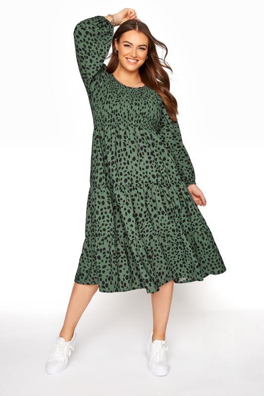 Plus Size  Green Dalmatian Print Shirred Smock Midi Dress