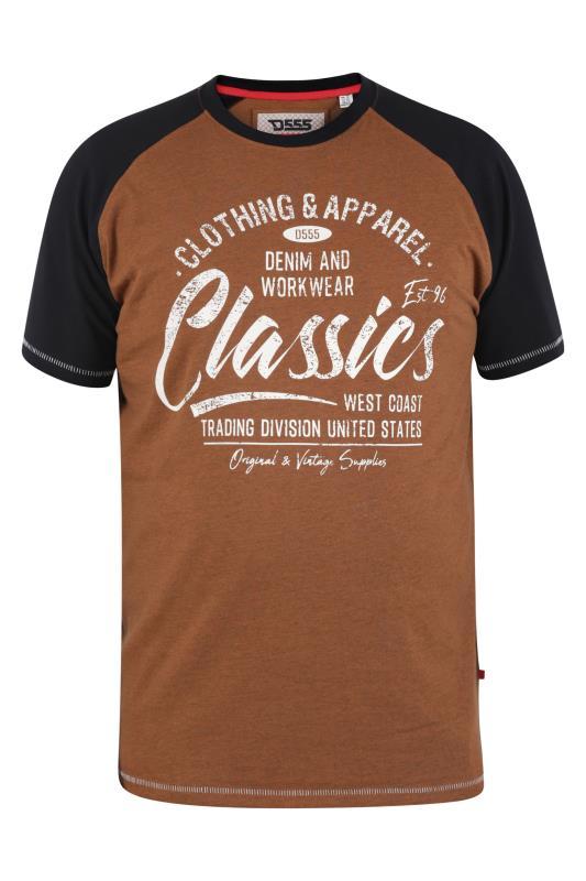 Men's  D555 Rust Classic Clothing Apparel Raglan Sleeve T-Shirt