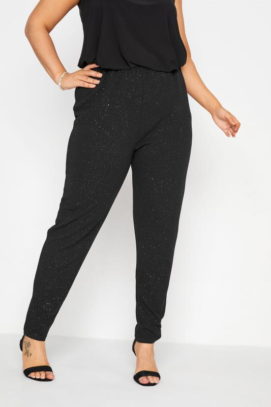 Plus Size  Black Glitter Tapered Trousers