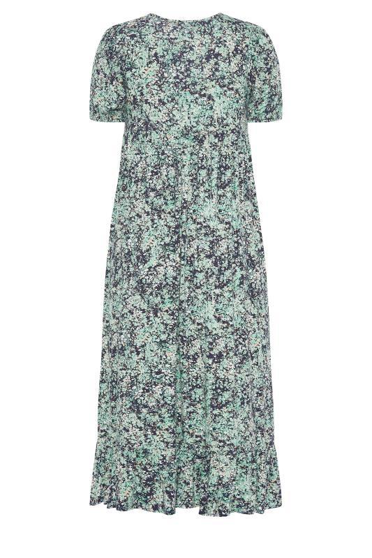YOURS LONDON Green Floral V-Neck Frill Hem Dress_bk.jpg